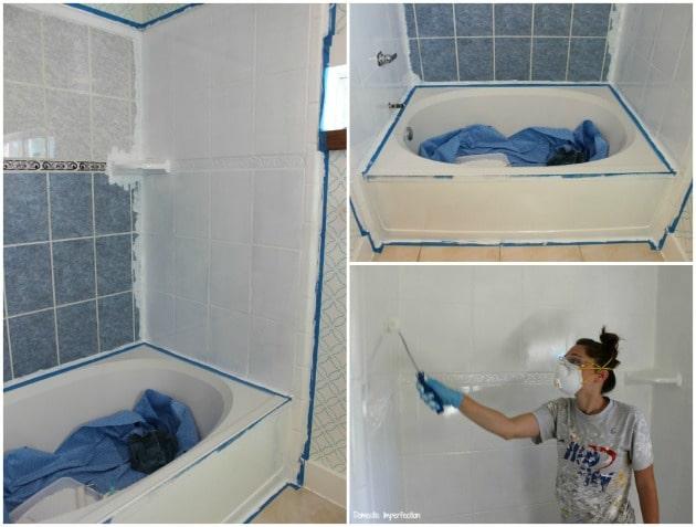 repeindre le carrelage de la douche